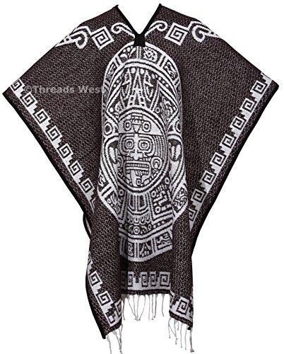 [Authentic Mexican Poncho Reversible Cobija Blanket - Aztec Calendar (Brown (Square Design))] (Pancho Villa Costumes)