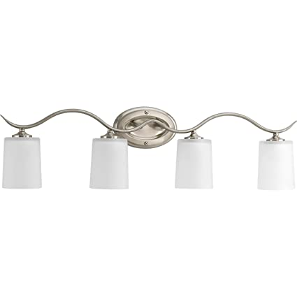 4 light vanity fixture mirror progress lighting p202109 inspire collection 4light vanity fixture brushed nickel fixture