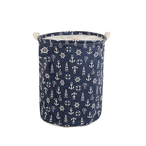 Foldable Laundry Hamper Dirty Clothes Basket,CENDA Round Portable Dirty Cloth Multi-Functional Storage Container with Handle for Home,Blue Anchor by CENDA