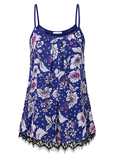 (Messic Women's Summer Sleeveless Chiffon Blouse Cami Top Colorful Blue XL)