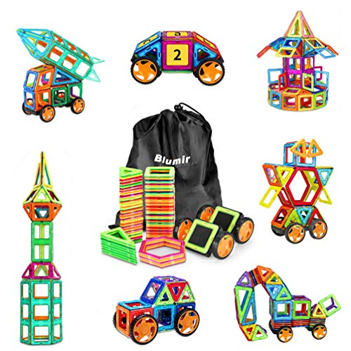 130 PCS Magnetic Blocks with Wheels,Magnetic Building Blocks Set - Magical Building Set