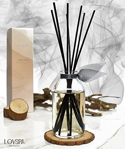 LOVSPA Romantic Smokey Fireside Embers Reed Diffuser Set by Includes a Wood Slice Coaster! Glowing Embers, Wood Smoke, Saffron Suede & Amber Cognac | A Masculine Scent | Gift for Dad or Husband! by LOVSPA (Image #1)
