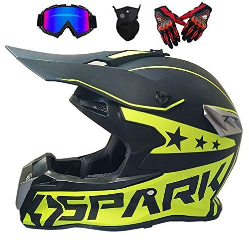 LCC Moto Motocross Cascos & Guantes & Goggles estándar de los niños Quad Bike ATV Go Karting Casco,S