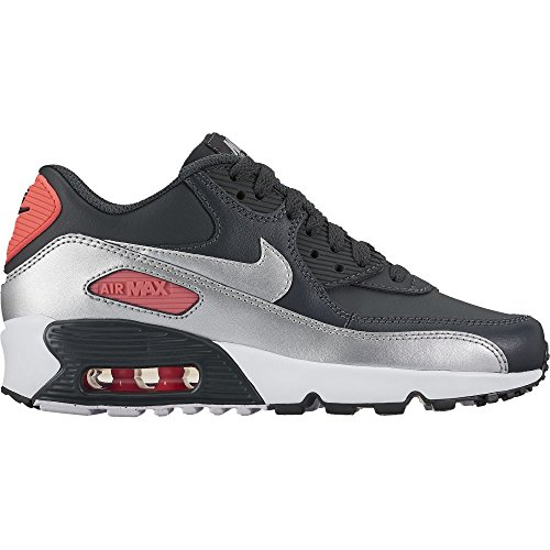Nike Air Max 90 LTR Girl's Shoe Anthracite/Metallic Silver-Hot Punch 6.5Y