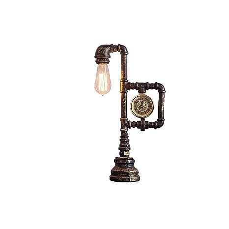 Lámpara de mesa antigua con reloj estilo lámpara de tubo de agua ...