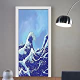 Gzhihine custom made 3d door stickers Ocean Blue Decor The Great Waves of Kanagawa Big Tsunami Nautical Pattern Kids Room Dorm Accessories Art Navy Royal Blue For Room Decor 30x79