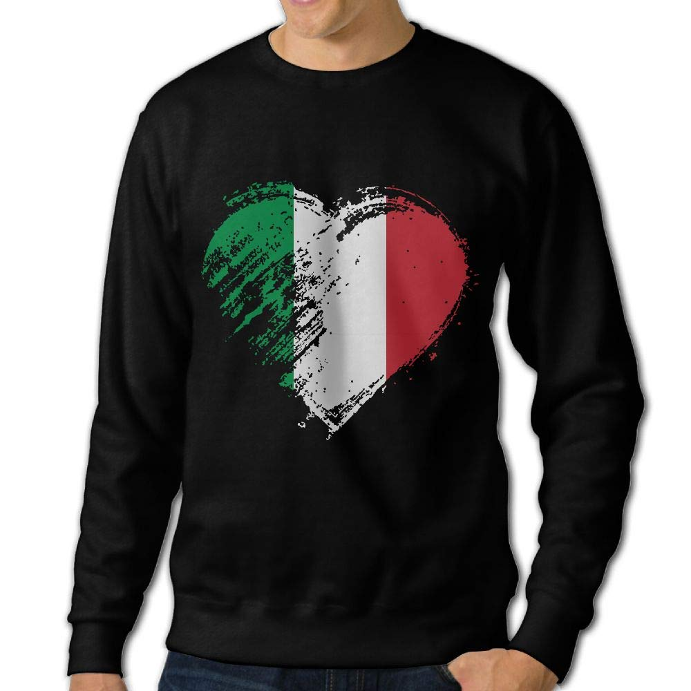 Grungy I Love Italy Heart Flag Adult Mens Casual Long Sleeve Hoody T-Shirt