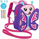 Toddler Backpack with Safety Harness Leash, 9.5' Butterfly Bag