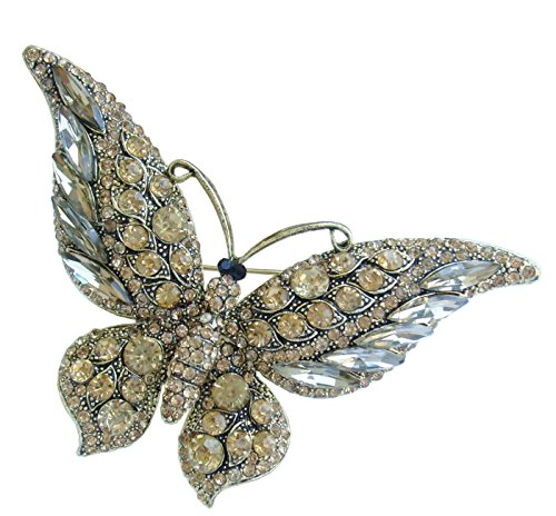 "Sindary Unique 3.74"" Gold Tone Butterfly Brooch Pin Topaz Rhinestone Crystal BZ4538"