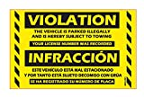 "Parking Violation Stickers Bilingual Spanish No Parking Prohibido Estacionar / Hard To Remove Very Sticky Permanent Adhesive by MESS (50-Pack) 8"" x 5"""