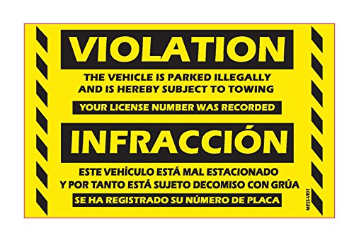 "MESS Parking Violation Stickers Bilingual Spanish No Parking No Estacionar / Hard To Remove Very Sticky Permanent Adhesive (50-Pack) 8"" x 5"""