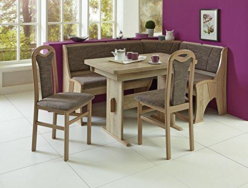 Truhen-Eckbankgruppe, Eiche sonoma Dekor bzw. Buche sonomafarbig massiv; Eckbank, 2 Stühle und Wangentisch, Bezug: grau-beige, variabel aufbaubar