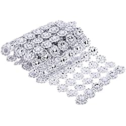 Decor Centerpieces - 1 Yard 6 Roll Silver Rhinestone Wedding Daisy Flower Diamond Mesh Decoration Centerpiec Rustic Decor - Buntings Votiv Flowers Rustic Ribbon Roll Silver Rhinestone With Stream