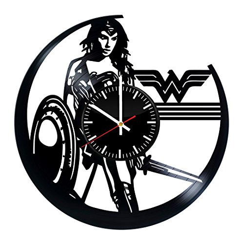 choma Wonder Woman Vinyl Record Wall Clock - Bedroom Wall Decor - Gift Ideas for Friends – Amazing Unique Art Design ()