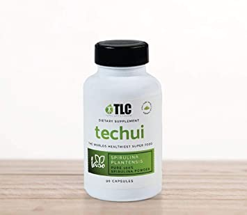 TLC IASO Techui: 100% Pure Spirulina Extract SuperFood Protein Supplement | 90 Capsules
