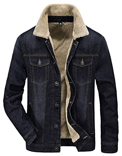 HOW'ON Men's Plus Cotton Warm Fur Collar Sherpa Lined Denim Jacket Button Down Classy Casual Quilted Jeans Coats Outwear Black - Sherpa Collar