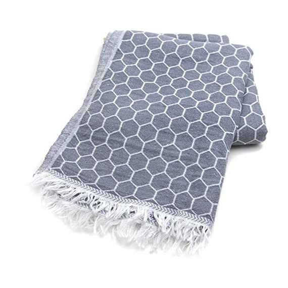 Februa Turkish Beach and Bath Towel Double Sided Peshtemal | Natural 100% Cotton | Multi-Purpose Yoga Camping Summer Travel Backpacking (Gray Hive 71x35 in.) - MULTIPURPOSE DAILY USE: Februa Turkish Towel Peshtemals are enjoyable, comfortable, super soft, cool and highly absorbent bath and beach towels. For Februa Friends, Turkish towels also come with a complementary 100% cotton bag which you can use to carry your small items at home or out. MADE IN TURKEY: Colorful, two-faced and fringeless Jacquard loomed (design is not printed but loomed on the fabric) Turkish towels 100% Cotton. Size: 90 x 180 cm ( 37 x 70 inches), Weight: 11 oz PERFECT FOR TRAVEL: Lightweight, easy to carry and folds small will fit in every travellers backpack! - bathroom-linens, bathroom, bath-towels - 51luzoxyw2L. SS570  -