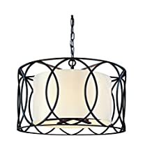 Troy Lighting Sausalito 5-Light Pendant - Deep Bronze Finish with Hardback Linen Shade by Troy
