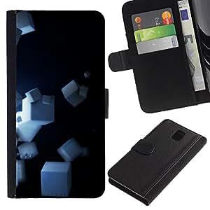 [Neutron-Star] Modelo colorido cuero de la carpeta del tirón del caso cubierta piel Holster Funda protecció Para Samsung Galaxy Note 3 III [Cubes]