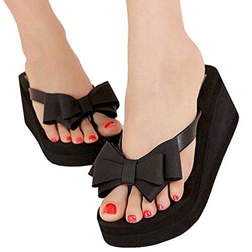 FINEJO Sweet Womens Summer Platform Wedge Flip Flops Thong Beach (Leather Wedge Thong Sandals)