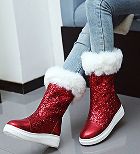 On Fur Red Lined Fur Ankle Sequins Pull Faux SHOWHOW Fluffy Women's Snow Booties xUqzYpw4O4