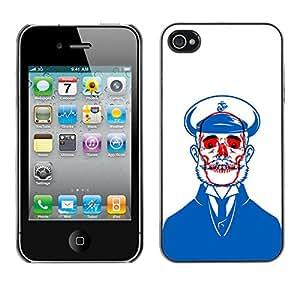 Paccase / SLIM PC / Aliminium Casa Carcasa Funda Case Cover - Sailor Blue Skull Red White Beard - Apple Iphone 4 / 4S