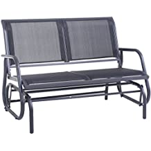 """Outdoor Swing Glider Chair, Superjare 48"""" Patio Bench for 2 Person, Garden Rocking Seating - Dark Gray"""