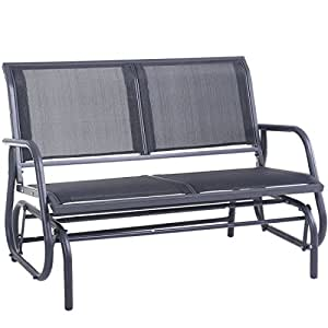 "Outdoor Swing Glider Chair, Superjare 48"" Patio Bench for 2 Person, Garden Rocking Seating - Dark Gray"