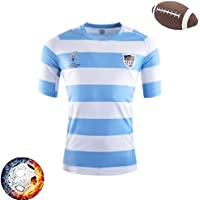 2019 Rugby World Argentina Home Team T-Shirt, Men's Training Jersey, Outdoor Sports Casual Wear (Size : L)