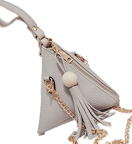 Wrist Grey Women's Purse With Clutch Strap Leather ZQYO Wallet Wristlet Triangle PU xUWPdwAfqz