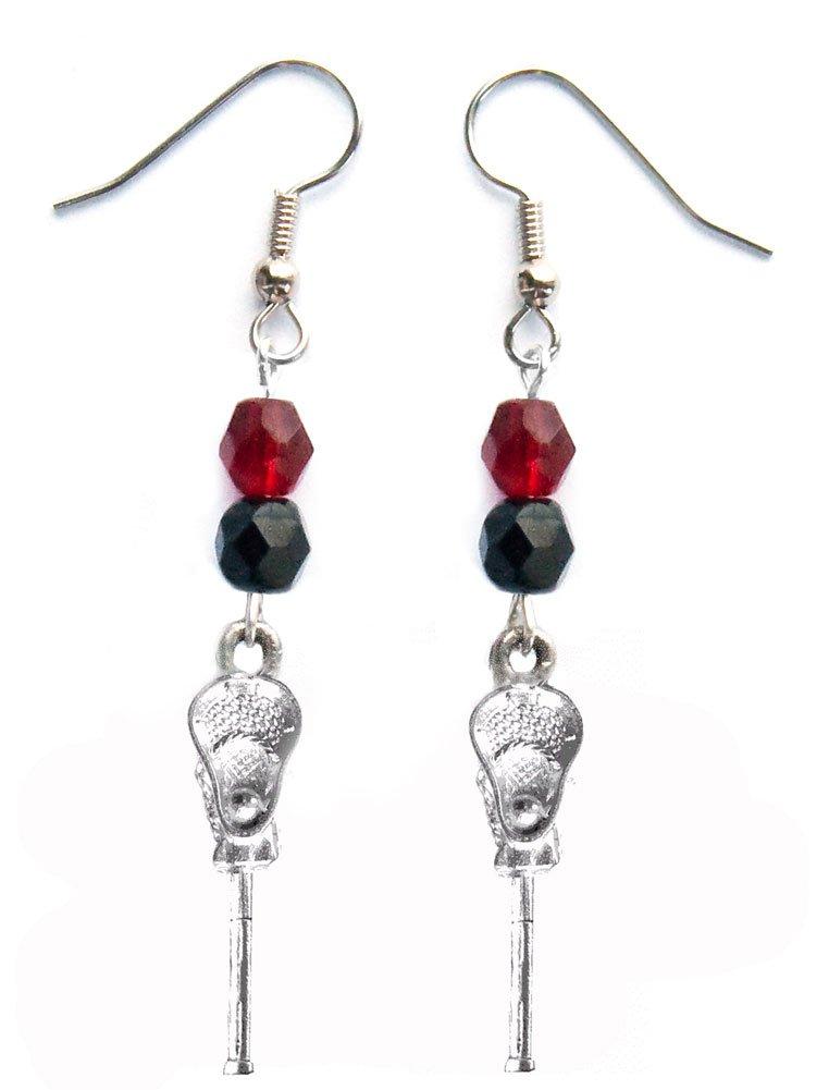 ''Lacrosse Stick & Ball'' Lacrosse Earrings (Team Colors Maroon & Black)