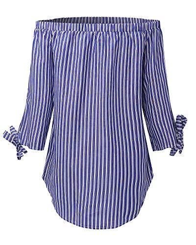 StyleDome Mujer Camiseta Playa Mangas 3/4 Rayas Lazos Sin Tirantes Blusa Hombros Descubiertos Azul Oscuro