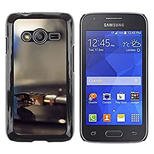 CASECO - Samsung Galaxy Ace 4 - Vinyl Player Needle - Delgado Negro Plástico caso cubierta Shell Armor Funda Case Cover - Vinilo jugador Aguja