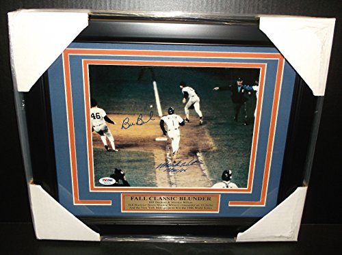Mookie Wilson Bill Buckner Autographed 8x10 Photo 1986 World Series PSA Framed