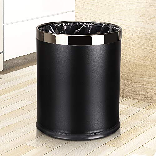 GohomeLoby Metal Trash Can, Double Cans Top Open Without Lid Waste Bin Hotel Office Wastebasket (Black Lacquer with Silver Ring) ()