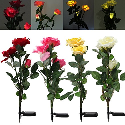 1 x Solar Power 3 LED Rose Flower Light Outdoor Garden Yard Lawn D?cor (Color Red)