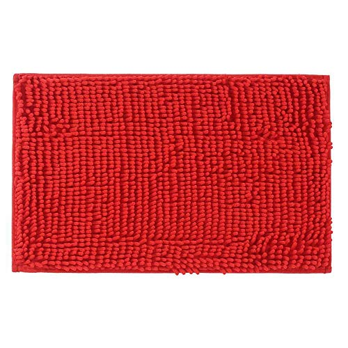 Adasmile Soft Shaggy Non Slip Microfiber Bath Mat Bathroom Mats Shower Rugs Carpet for Tub,Shower,Textured Tub,Surface,Floor,Shower Stall,Red,15.74