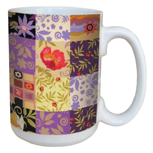 (Tree-Free Greetings lm43722 Patchwork Happy Go Lucky Floral by Nel Whatmore Ceramic Mug, 15-Ounce)