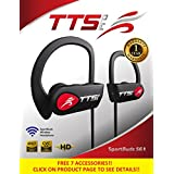 TTS Pro New 2018 Bluetooth Headphones, Best Wireless Sports Earphones Mic IPX7 Waterproof HD Stereo Sweatproof Earbuds for Running Workout 8 Hour Battery Noise Cancelling Headsets (Red)