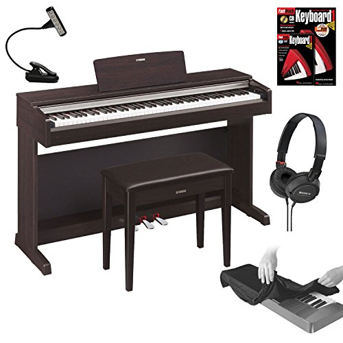 Yamaha YDP142R Arius Series Traditional Console Digital Piano with Bench - Dark Rosewood + FastTrack Keyboard Method Starter Pack + Sony Headphones and 88-Key Keyboard Dust Cover