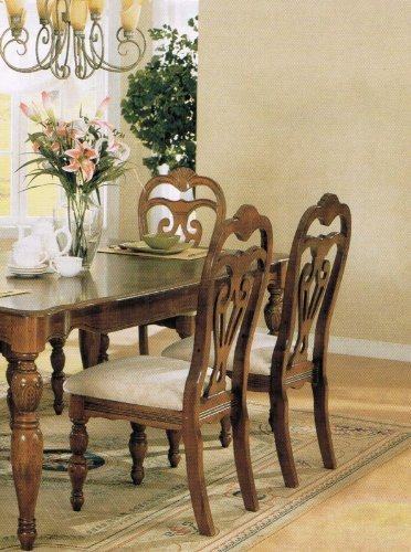 Set of 2 Dining Chairs Brown Cherry Finish