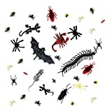 150 Pieces Plastic Realistic Bugs- Fake Roaches, Spiders ,Scorpions ,Rats, Geckoes ,Centipedes ,Flies ,Bats ,Mouse for Halloween Party Favors and Decoration