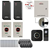 Visionis FPC-6130 Two Door Access Control Time Attendance TCP/IP Wiegand Controller Box, Power Supply, Outdoor Waterproof Reader, Software, EM TK4100 Card Compatible 10000 User Wireless Doorbell