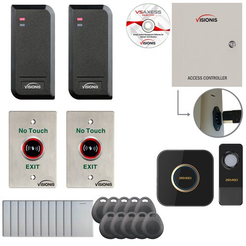 Visionis FPC-6130 Two Door Access Control Time Attendance TCP/IP Wiegand Controller Box, Power Supply, Outdoor Waterproof Reader, Software, EM TK4100 Card Compatible 10000 User Wireless Doorbell by Visionis