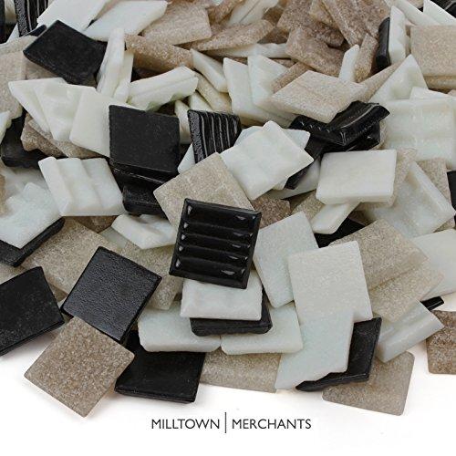 Milltown Merchants™ Black and Tan Mosaic Tiles - Bulk Mosaic Tile Assortment - 3/4 Inch (20mm) Mixed Colors Venetian Glass Tile - 3 Pound (48 oz) Craft and Backsplash Tile (Plain Glass Mosaic)