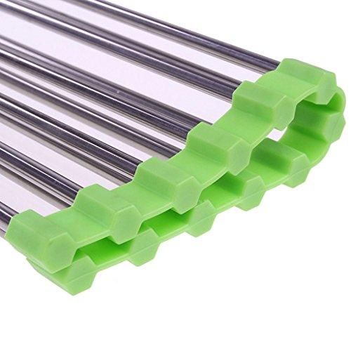 """Zelta Stainless Steel Dish Drying Grid Kitchen Over the Sink Roll Up Drying Rack with Silicone End (14.6"""" x 9.2"""", Green)"""