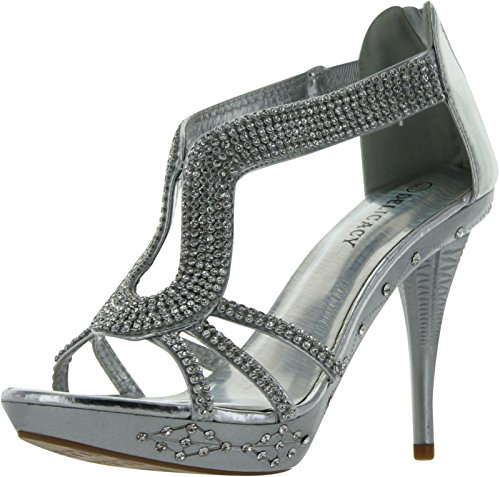 DELICACY-06 Women's Hot Fashion Close Back High Heel Platform Sandals Silver 8.5