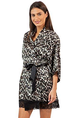 Ashford & Brooks Women's Printed Satin Short Kimono Robe - Leopard - X-Large