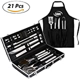 kaluns BBQ Grill set 21 Piece Utensil Set, Heavy Duty Stainless Steel Tools, luxurious and essential tools for barbequing, Professional Grilling Accessories for the Expert, Complete Outdoor Kit