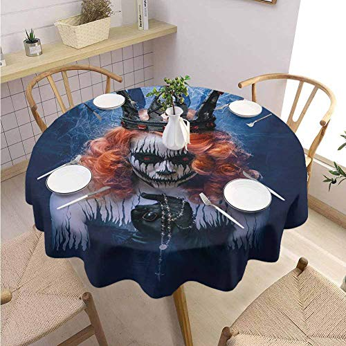 DILITECK Queen Polyester Round Tablecloth Queen of Death Scary Body Art Halloween Evil Face Bizarre Make Up Zombie Jacquard Tablecloth Diameter 50